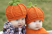 Boy baby pumpkin crochet beanie - hats Baby Crochet Hats Newborn Bonnet Skullies Beanies Boys Knitted Hat beanie Berets pumpkin Handmade DZY44H