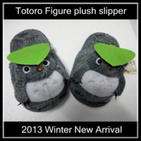 Wholesale New Fashion My Neighbor Totoro Figure cartoon plush slipper totoro slippers gray color Free size for all adults Dropship