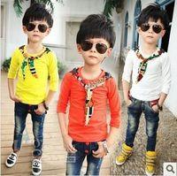 Spring / Autumn plain t shirts - Hot Sale New Kids T shirt Personality Printed Cravat Round Neck Plain T shirt Handsome Boys Candy Colors T shirt