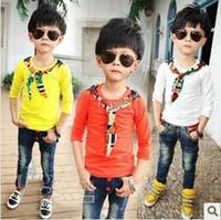 plain t shirts - Fashion New Hot Kids T shirt Personality Printed Cravat Round Neck Plain T shirt Handsome Boys Candy Colors T shirt