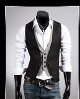 Wholesale Fashion New men s vest V neck fake two piece blazer vest waistcoat black khaki M XL