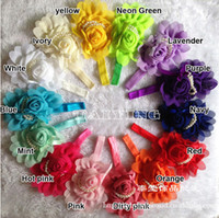 Hair Sticks Chiffon Chiffon Rose flowers Baby Chiffon Rose Flower Headbands Headdress Children Chiffon Flower Headbands Infants Rose Pearl Headdress Flower Headband Hair Accessories