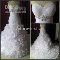 Wholesale 2015 New Arrivals Woman Sexy Mermaid Trumpet Sweetheart Sleeveless Sweep Train Beads Cascading Ruffles Organza Lace up Wedding Dresses