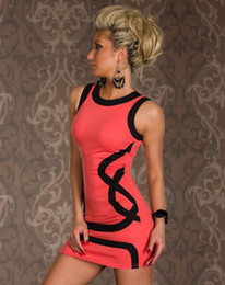 Wholesale 2013 Women O Neck Sexy Dress Pink White Black Geometric Tank Style Dresses Clubwear Night Club wear