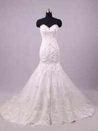 Custom made 2013 New Sexy luxurious ruffles lace beaded mermaid sweetheart Wedding dress W349