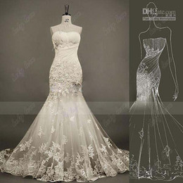2014 New Real Image Sweetheart Rosette Tulle Applique Beads Crystal Bridal Gown Court Train Princess Sexy Mermaid Wedding Dresses Lace Up