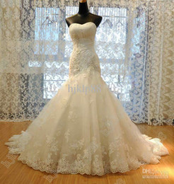 Hot Selling New Sweetheart Neck Bridal Gown Applique Crystal Beaded Lace Tulle Chapel train Mermaid Wedding Dresses
