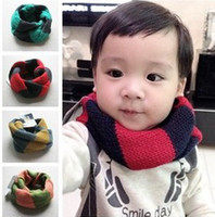 Wholesale Fashion Baby Boys Girls Winter Warm Checker Scraf Kids Grid Knitted Vintage Pattern Scarves Child Outdoor Playing Ring Wraps B1878