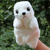 Wholesale Super cute baby toy plush animal hand puppet white sea lion sea dog teaching game good for gift