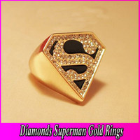 Wholesale Gold Diamonds Ring With Superman S Logo Fancy Golden Triangular Rings Fashion Jewelry NL082