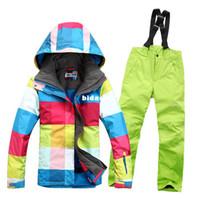 Wholesale Gsousnow ski suit set Women skiing underwear windproof waterproof thermal