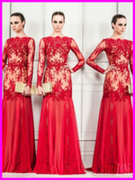 Wholesale 2014 Sexy Red Bateall Sheath Appliques Tulle zuhair murad Prom Evening Dresses Long sleeves Floor Length Formal Pageant Dress Gowns Custom