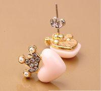 Wholesale new diamond crown of hearts love cute earrings wsd27