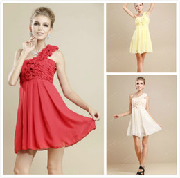 Wholesale 2013 Bridesmaid Dresses Sweet princess Greek Style Goddess Short One shoulder Party Dress Bridesmaid Dress