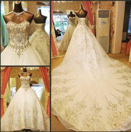 Wholesale 2015 Glamorous Ball Princess Sweetheart Wedding Dresses With Rhinestone Organza Sweep Train Royal Lace Up Wedding Gown Bridal Dressss