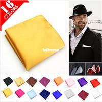 Wholesale Male Mens Silk Pocket Square Solid Color Towel Handkerchiefs Tower Snot rag Hanky Hankies