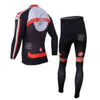 Wholesale Castelli Men s Spring Cycling Suit long sleeve Cycling Jacket Compression Mountain Bike Trousers Black