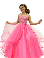 Wholesale new Crown Princess Hot Pink Cute Rhinestone Lovely Floral Ball Gown Cupcake Girls Pageant Dresses Size