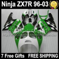 7gifts green black For KAWASAKI NINJA ZX- 7R 96- 03 1996 2003 ...