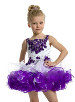 purple cupcake - Crown Princess Hot White and Purple Lovely tutu Toddler Cupcake Girls Pageant Dresses