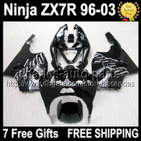 7gifts For KAWASAKI NINJA ZX- 7R 96- 03 1996 2003 all black Q1...