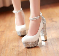 Wholesale New Fashion Women s cm Glitter High Heels Wedding Shoes Bridal Shoes Dress Shoes SILVER Size J86G