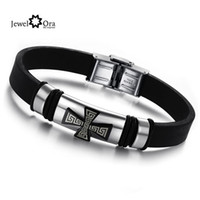 Wholesale JewelOra NEW hot silver tone Great Wall pattern Cross L stainless steel Slicone bracelet amp bangle for men BA100804