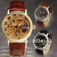 Wholesale DELUXE LUXURY COOL Skeleton Analog Leather Band Mechanical Men s Wrist watch Clock Hours