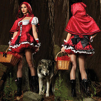 Wholesale Women Ladies Little Red Riding Hood Fancy Halloween Costumes Party Dress Outfit