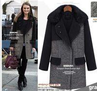 Women Lapel Neck Long Sleeve Woman Fashion Winter Warm fur collar wool coat trench coat parka overcoat