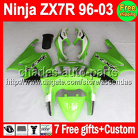 7gifts For KAWASAKI NINJA factory green ZX- 7R 96- 03 1996 200...