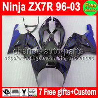 7gifts For KAWASAKI NINJA ZX- 7R 96- 03 1996 2003 blue flames ...