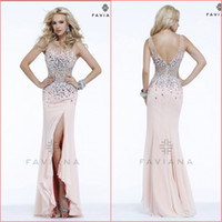 Wholesale Custom Made Pearl Pink Scoop Diamond Beaded Chiffon Sheath Prom Dress Pageant Dress Ball Gown