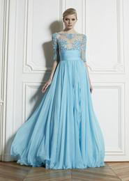 Wholesale New illusion neck A line Chiffon zuhair murad Prom Mother of the bridal dresses Half sleeves Floor Length Appliques Beads Formal Dress Gowns