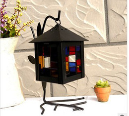 Supply Iron Candle Lantern Mediterranean branches bird house color glass iron lantern 1079419 Candle Holders