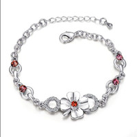Wholesale Top quality gold plated rhinestone crystal flower charm bracelet fashion party jewelry wedding gift