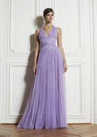 Chiffon Sleeveless Ankle-Length Free Shipping Lavender Halter A line Ruffles Chiffon zuhair murad Prom Evening dresses Floor Length Appliques Beads Formal Dress Gowns