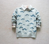 Wholesale Mustache Pattern Knitted Cotton Children Pullover Girls Boys Long Sleeve Grey Round Neck Casual Sweaters Kids Jersey B1889