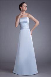 Simple Design Strapless Sleeveless Floor Length Satin Wedding Party Bridesmaid Evening Prom Dresses Custom Size 2 4 6 8 10 12 14 16