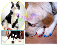 Wholesale new cat armor nail cap amp glue anti scratch pet nail caps claw control paws off dog nail cover soft paw cat nail wraps catlike sets