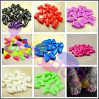 Wholesale anti scratch dogs pet nail caps claw control paws off dog nail cover soft paw cat nail wraps catlike sets armor nail cap without glue