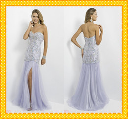 Wholesale Custom Wow Stunning White Sweetheart Crystals Beaded mermaid Sexy Slit Long Pageant Dresses Evening Prom Party Formal Dress Gown