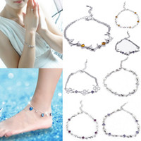 Bracelet / Ankle   GAP*1 Silver Diamante Bracelet Ankle Crystal Chain With Lobster Clasps Ladies Jewelry Style Choose