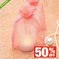 """Favor Bags Pink Organza Hot Sale Item,100pcs 4"""" (10cm) W x 6"""" (15cm) H Coral Sheer Organza Wedding Party Favour Gift Candy Bag Pouch Free S H Upick"""