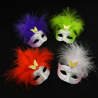 Wholesale Lovely mini feather mask halloween decoration venetian masquerade party gift wedding favor novelty EMS mix color