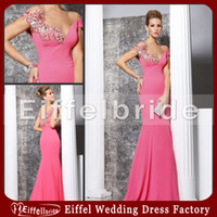 Wholesale Hot Pink Evening Dress Tarik Ediz Appliques Beads Pageant Gown