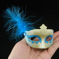 masquerade decorations - new mini feather mask venetian masquerade party decoration carnival mardi gras bar prop wedding gift mix color on sale