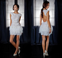 Wholesale 2013 Babyonline Prom Dress Sexy Cap Sleeves Lace Feather Mini Short White Backless Cocktail Dresses jov171924