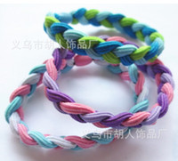 Cheap Free Shipping (100pcs lot) High Quality Braided Hair Bands Rubber Head Style Sweaty Headband Non Slip Sports Ten Color Mixed Colors L358