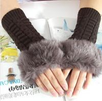 Wholesale New Arrivals Faux Rabbit Fur Hand Wrist Winter Warmer Crochet Wool Knitted Fingerless Gloves women lady fashion gloves